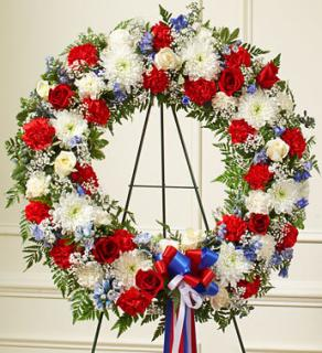 Serene Blessings Red, White & Blue Standing Wreath