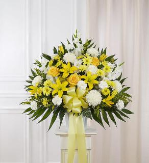 Heartfelt Sympathies™ Standing Basket- Yellow
