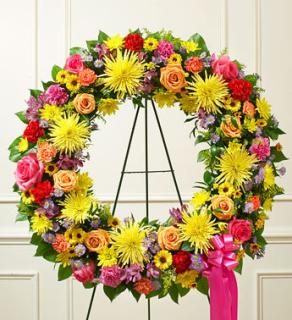 Serene Blessings Bright Standing Wreath