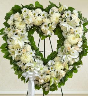 Always Remember White Floral Heart Tribute